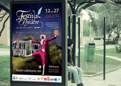 Communication du Festival de Théâtre en Val de Luynes : affiche, programme, goodies, invitations, billetterie...
